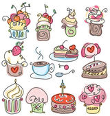 Cute icons of cupcakes for sweet design. — Stock Vector