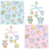 Seamless pattern and mobile for babys boy and girl design. — Stock Vector