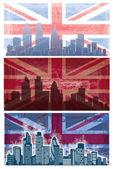 Vector van Britse vlag grunge achtergrond met Londen city — Stockvector