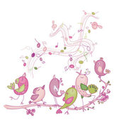 Cute singing birds for Easters and spring's design — Stockvector