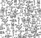 Seamless pattern of little monsters. — Stock Vector