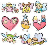 Cute angels for your design. — Stock Vector