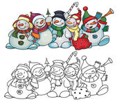 Fun snowmen for Christmas design. — Stock Vector
