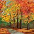 Vector of autumn landscape, pathway in park. - Stock Vector