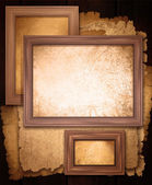 Background page paper of beige and vintage wooden frame close up. — Stock Photo