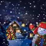 Snowman holding lantern — Stock Vector #35308029