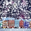 Stock Vector: Winter wonderland cityscape