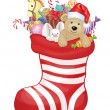 Christmas sock with toys  — Imagen vectorial