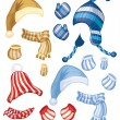 Set of hats, scarfs and gloves — Grafika wektorowa