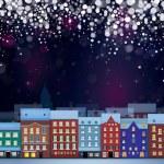 Winter wonderland cityscape — Stock Vector