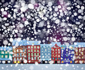Winter wonderland cityscape — Stock Vector