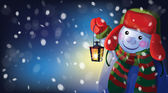 Snowman holding Christmas lantern — Stock Vector