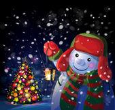 Kardan adam Noel fener tutmak — Stok Vektör
