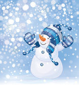 Happy snowman and snowfall. — Stock Vector