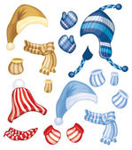 Set of hats, scarfs and gloves — Stock Vector