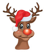 Rudolph with Christmas hat. — Stock Vector