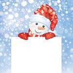 Snowman hiding by blank — Stock Vector #35310745