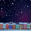 Winter night cityscape. — Vector de stock