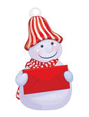 Snowman holding red envelope — Stockvector