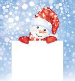 Snowman hiding by blank — Stock Vector