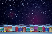 Winter night cityscape. — Stock Vector