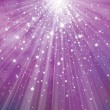 Vector glitter violet background with rays of lights and stars.  — Imagens vectoriais em stock