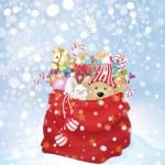 Vector Santa Claus bag full of toys — Stock Vector