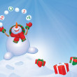 Vector happy snowman with gifts on winter background.  — Stock Vector
