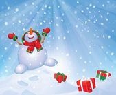 Vector happy snowman with gifts on snowfall background. — Stock Vector
