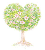 Vector blossoming tree heart shape. — Stock Vector