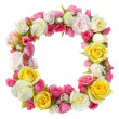 Stock Photo: Roses floral frame isolated.