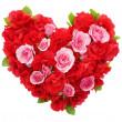 Roses flowers heart shape isolated. — Stock Photo