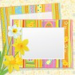 Vector Easter card, empty photo frames with daffodils. — Stock Vector #40227973