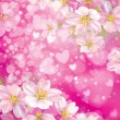 Vector pink background with hearts and flowers. — Vettoriale Stock  #40228155