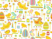 Vector cute seamless pattern, happy Easter. — Stock Vector