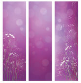 Vector violet floral banners for design. — Stock Vector