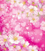 Vector pink background with hearts and flowers. — Vector de stock
