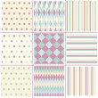 Stockvector : Set geometry, striped, polkdots  patterns.