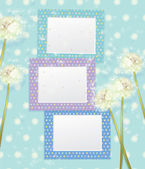 Photo frames and dandelion flowers. — Stock Vector