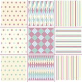 Set geometry, striped, polka dots  patterns. — Stockvektor