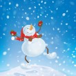 Snowman dancing on snowfall background. — Stock Vector #46593127