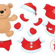 Vector cute bear toy with set of Santa Claus costume clothes. — Stock Vector #46593301