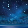 Vector night winter scene, sky and forest background. — Stock Vector #46593511