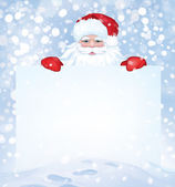 Vector Santa Claus  hiding by blank on snowfall background. — Stock Vector