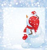 Vector snowman writes greeting  on blank — Stock Vector
