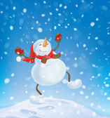 Snowman dancing on snowfall background. — Stock Vector