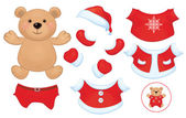 Vector cute  bear toy with  set of Santa Claus costume clothes. — Stock Vector