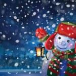 Snowman holding  lantern — Stock Vector #48946341