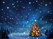 Winter scene with Christmas tree. — Stock Vector