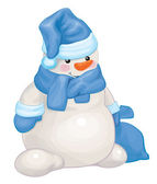 Snowman in  costume with sack. — Stockvector